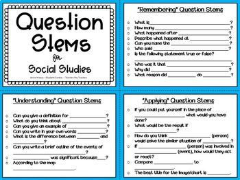 "Question Stems ""Idea Ring"" for Social Studies"