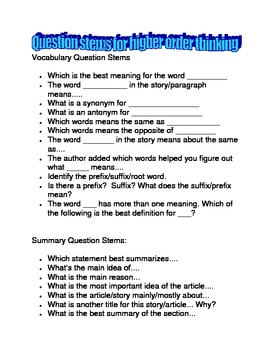 Question Stems for Higher Level Questioning