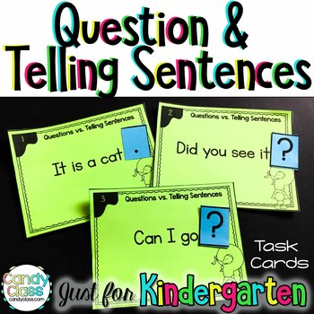 Question & Telling Sentence Task Cards for Kindergarten with Anchors & Games