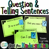 Asking & Telling Sentence Task Cards for Kindergarten with Anchors & Games