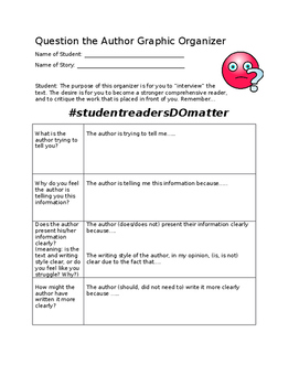 Question The Author Graphic Organizer