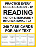 Reading Response Task Cards Fiction & Non-Fiction: Grade 9 - 12