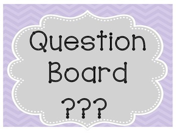Question Wall {Classroom Management}