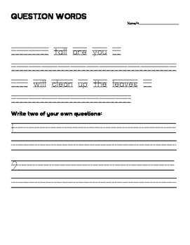 Question Word Sentence Writing