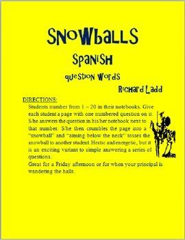 Question Word Snowballs SPANISH