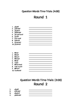 Question Word Time Trials Spanish Interrogative Questions