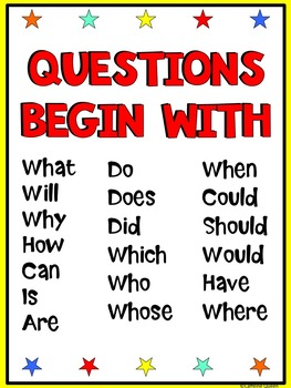 Question Words Posters With Color and Style Choices
