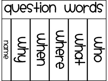 Question Words Flip Book