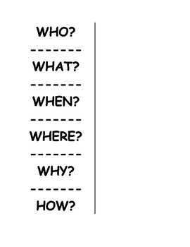 Question Words Foldable (Standard RL 1)