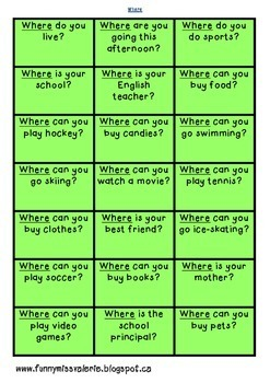 Question Words Game #1
