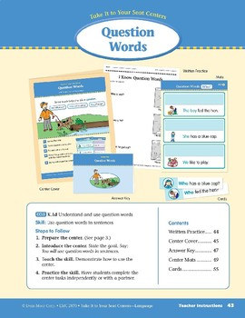 Question Words (Take It to Your Seat Centers: Common Core Language)