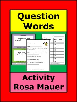 Question Words Task Card and Worksheet Set