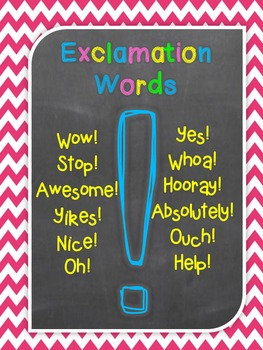 Question Words and Exclamation Words Freebie