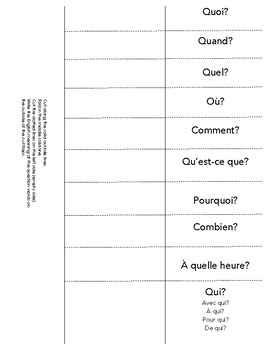 French Question Words foldable