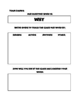 Question Words graphic organizer