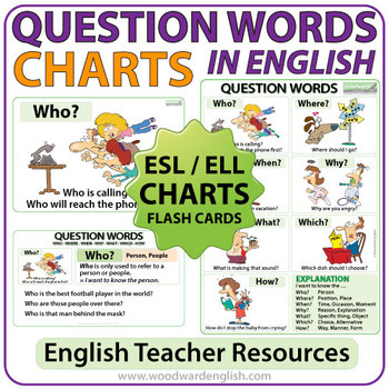 Question Words in English - ESL Wall Chart Flash Cards