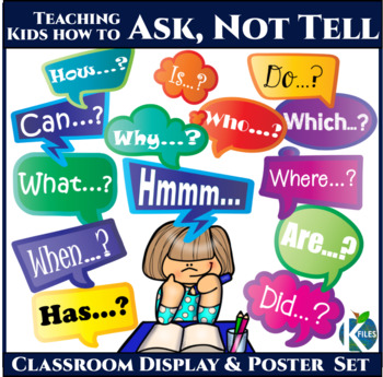 5 Ws + 8 Question Words in Speech Bubbles, Poster Set
