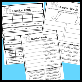 Question Words: writing questions, sort, and partner work