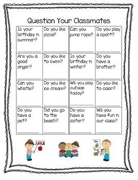 Question Your Classmates Bingo