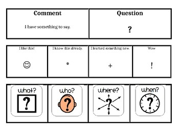 Question and Comment Flipbook (Core Vocabulary for Non-verbal Students!)