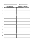 Question and Response sheets