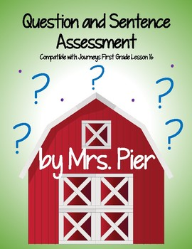 Question and Sentence Assessment (Compatible with Journeys 1st Grade Lesson 16)