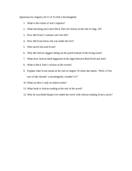 Question for each Chapter of To Kill a Mockingbird by Harper Lee