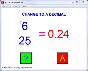 Question generator – fractions to decimals