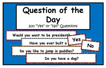 Question of the Day- Questions for the whole year!