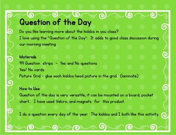 Question of the Day-Yes and No Questions