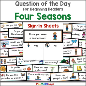 question of the day bundle four seasons sign in sheets by primary