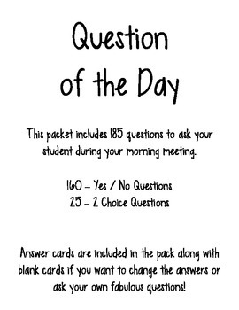 Question of the Day Packet - 185 Days