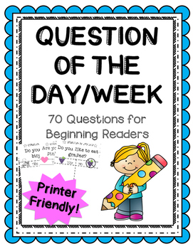Question of the Day for Beginning Readers