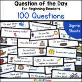 Question of the Day for Beginning Readers: Sign-in Sheets