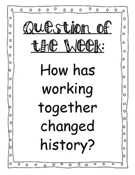 Question of the Week Unit 2 Reading Street 2013 Focus Wall