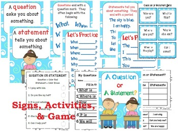 Question or Statement Unit {Signs, Activities, & Game} Kindergarten/1st/2nd