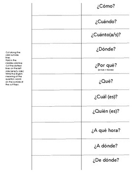 Spanish Question Words Foldable