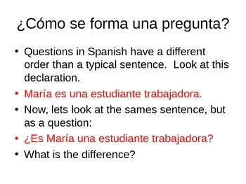 Question words: how to formulate and respond to questions / Realidades 1 4a
