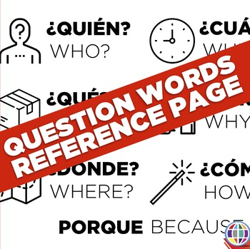 Question words in Spanish quick reference sheet