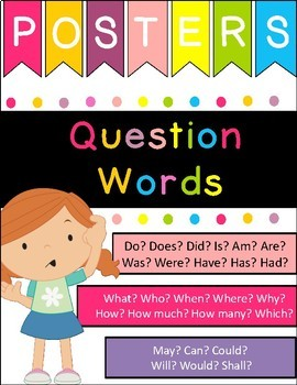 Question words posters, cards and worksheets set | identify questions
