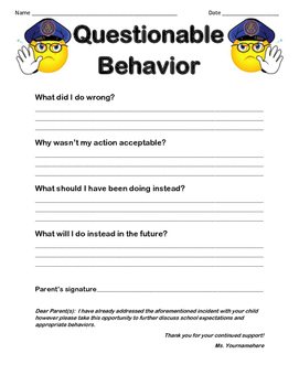 Questionable Behavior form
