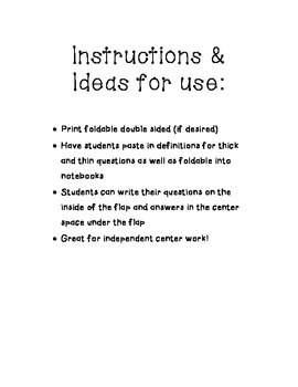 Questioning: Interactive Notebook Foldable