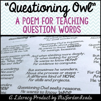 questioning owl a poem for teaching question words by msjordanreads