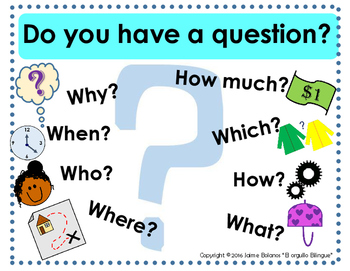 Bilingual Questioning Posters with Visuals-Spanish/English options!