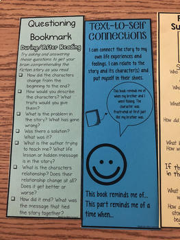 Questioning Reading Strategy Bookmark and Exit Ticket Assessment