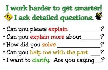 Questioning Strategies Poster - I work harder to get smarter!