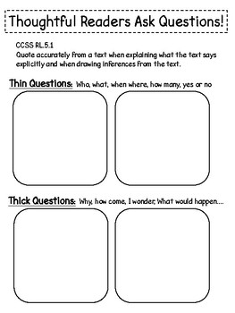 Thick And Thin Questions Worksheets & Teaching Resources | TpT