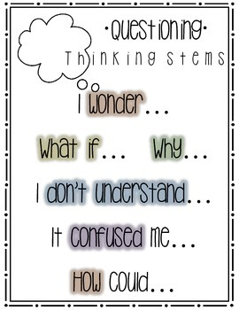 Questioning Thinking Stem Poster