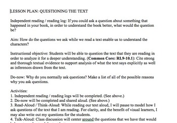 Questioning a Text Lesson Plan, Handout, Graphic Organizer, Activity