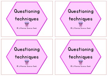 Questioning technique card prompts